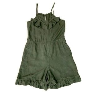 Olive Green High Neck Ruffle Hem Romper/Playsuit
